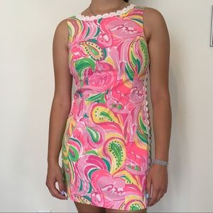"Lilly Pulitzer ""All Nighter"" Flamingo Shift Dress"
